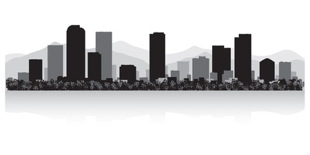 denver skyline: Denver USA city skyline silhouette vector illustration