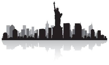 waterfront: New York USA city skyline silhouette vector illustration