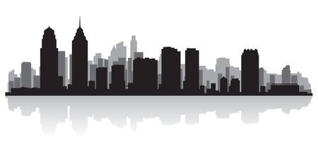 フィラデルフィア アメリカ都市スカイライン シルエット ベクトル イラスト