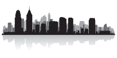 waterfront: Philadelphia USA city skyline silhouette vector illustration