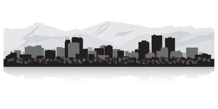 waterfront: Anchorage USA city skyline silhouette vector illustration Illustration