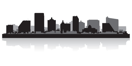 lake shore: Atlantic city USA skyline silhouette vector illustration