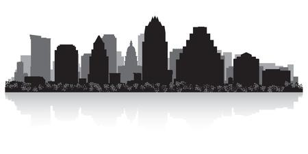 silhueta: Austin EUA horizonte da cidade ilustra Ilustração