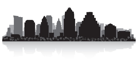 sky scrapers: Austin USA city skyline silhouette vector illustration Illustration