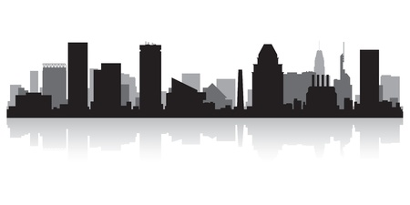 waterfront: Baltimore USA city skyline silhouette vector illustration