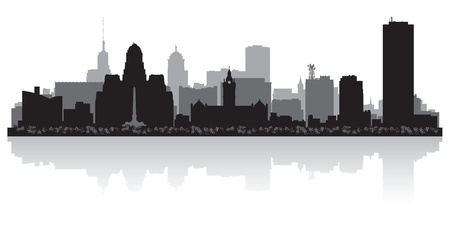 dark city: Buffalo USA city skyline silhouette vector illustration
