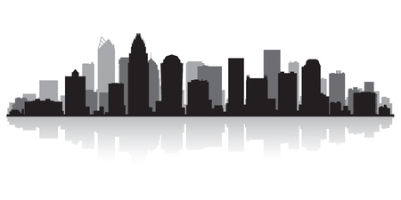 scraper: Charlotte USA city skyline silhouette vector illustration Illustration