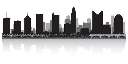columbus: Columbus EE.UU. horizonte de la ciudad silueta ilustraci�n vectorial