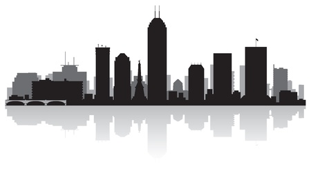 waterfront: Indianapolis USA city skyline silhouette vector illustration Illustration