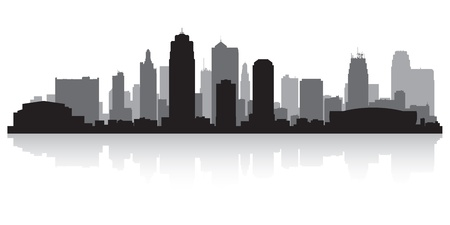 waterfront: Kansas city USA skyline silhouette vector illustration
