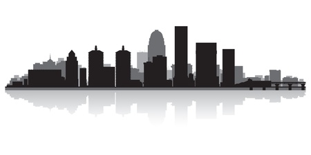waterfront: Louisville USA city skyline silhouette vector illustration
