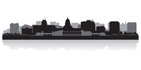 highrise: Madison USA city skyline silhouette vector illustration