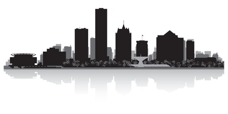 waterfront: Milwaukee USA city skyline silhouette vector illustration