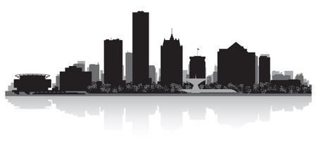 milwaukee: Milwaukee USA city skyline silhouette vector illustration