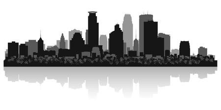 Minneapolis USA city skyline silhouette vector illustration Stock Vector - 21157938