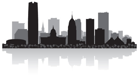 Oklahoma city USA skyline silhouette vector illustration Stock Vector - 21157940