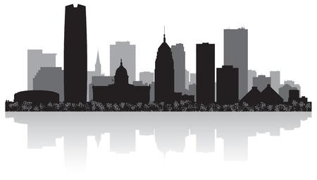 oklahoma: Oklahoma city USA skyline silhouette vector illustration