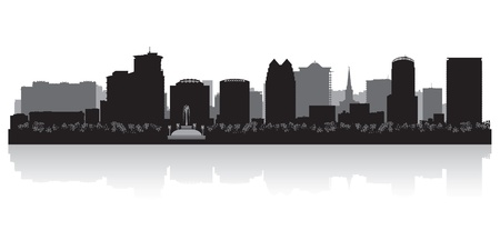 waterfront: Orlando USA city skyline silhouette vector illustration