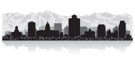 ソルトレイクシティ アメリカ合衆国スカイライン シルエット ベクトル イラスト