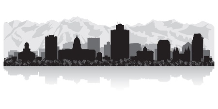 lake shore: Salt Lake city USA skyline silhouette vector illustration