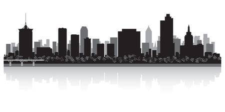 waterfront: Tulsa USA city skyline silhouette vector illustration Illustration