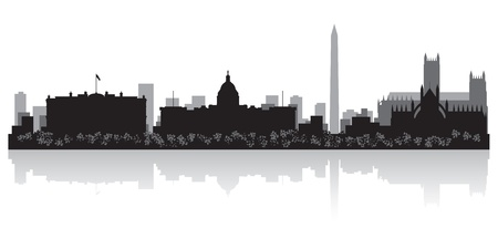 lake shore: Washington USA city skyline silhouette vector illustration