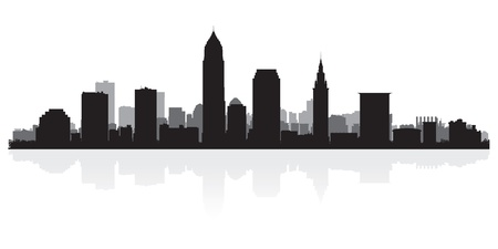 Cleveland USA city skyline silhouette vector illustration Illustration