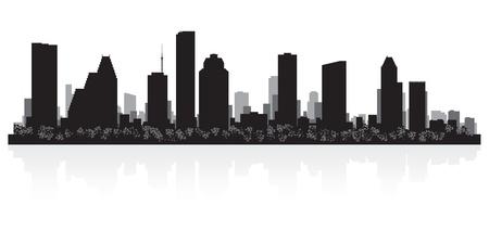 ciudad: Houston EE.UU. horizonte de la ciudad silueta ilustración vectorial Vectores