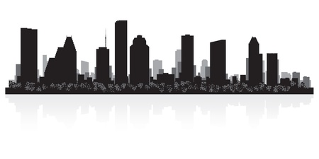 waterfront: Houston USA city skyline silhouette vector illustration