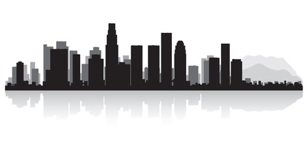 sky scrapers: Los Angeles USA city skyline silhouette vector illustration Illustration