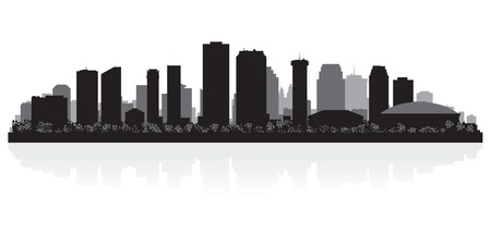 highrise: New Orleans USA city skyline silhouette vector illustration