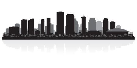 arquitectura: Nueva Orleans EE.UU. horizonte de la ciudad silueta ilustración vectorial