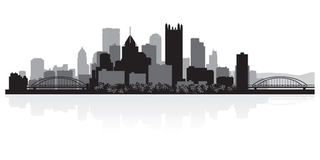 Pittsburgh USA city skyline silhouette vector illustration Ilustração