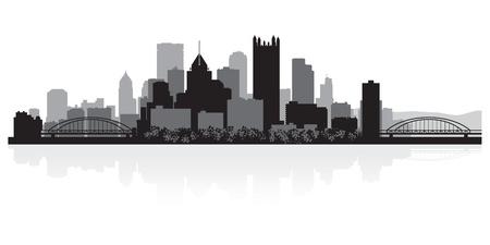 scraper: Pittsburgh USA city skyline silhouette vector illustration Illustration
