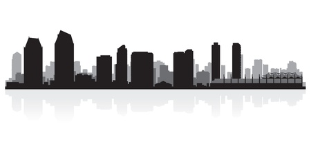 waterfront: San Diego USA city skyline silhouette vector illustration