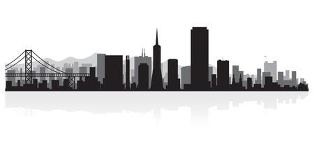 Francisco USA skyline van de stad San silhouet vector illustratie Stockfoto - 21157961