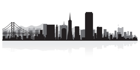 waterfront: San Francisco USA city skyline silhouette vector illustration