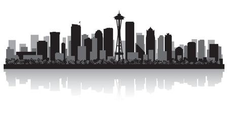 seattle: Seattle EE.UU. horizonte de la ciudad silueta ilustraci�n vectorial Vectores