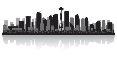 waterfront: Seattle USA city skyline silhouette vector illustration Illustration