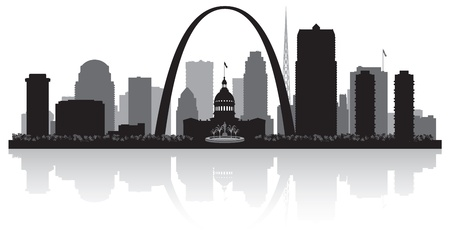 waterfront: Saint Louis Missouri city skyline vector silhouette illustration