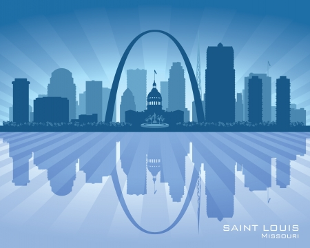 Saint Louis Missouri city skyline vector silhouette illustration Stock Vector - 22015593
