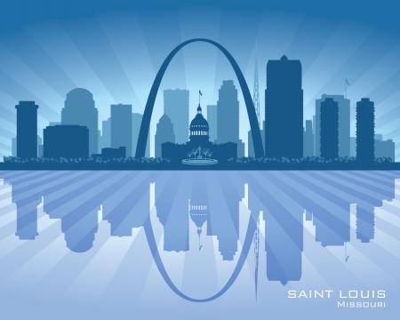 louis: Saint Louis Missouri city skyline vector silhouette illustration