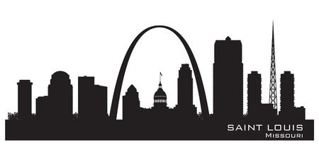 silhueta: Saint Louis Missouri horizonte silhueta detalhada