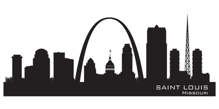 Saint Louis Missouri skyline Detailed vector silhouette
