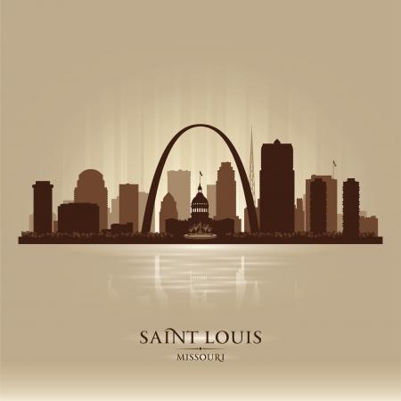 Saint Louis Missouri city skyline vector silhouette illustration Stock Vector - 22015595