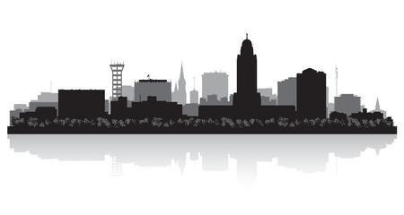 Lincoln Nebraska city skyline vector silhouette illustration Stock Vector - 22015596