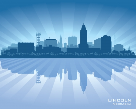 Lincoln Nebraska city skyline vector silhouette illustration Illustration
