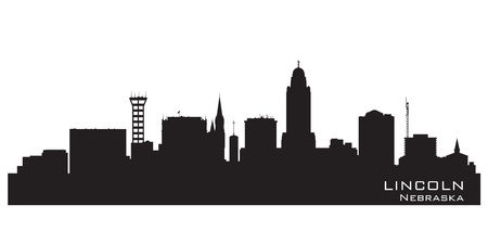 lincoln: Lincoln Nebraska skyline Detailed vector silhouette