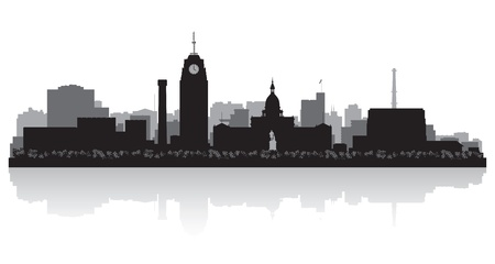 Lansing Michigan city skyline vector silhouette illustration Stock Vector - 22015599