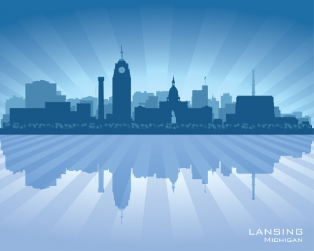 Lansing Michigan city skyline vector silhouette illustration Stock Vector - 22015600